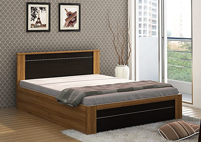 Spacewood Rio Queen Size Engineered Wood Bed with Box Storage  Woodpore Finish, Natural Teak  Beds