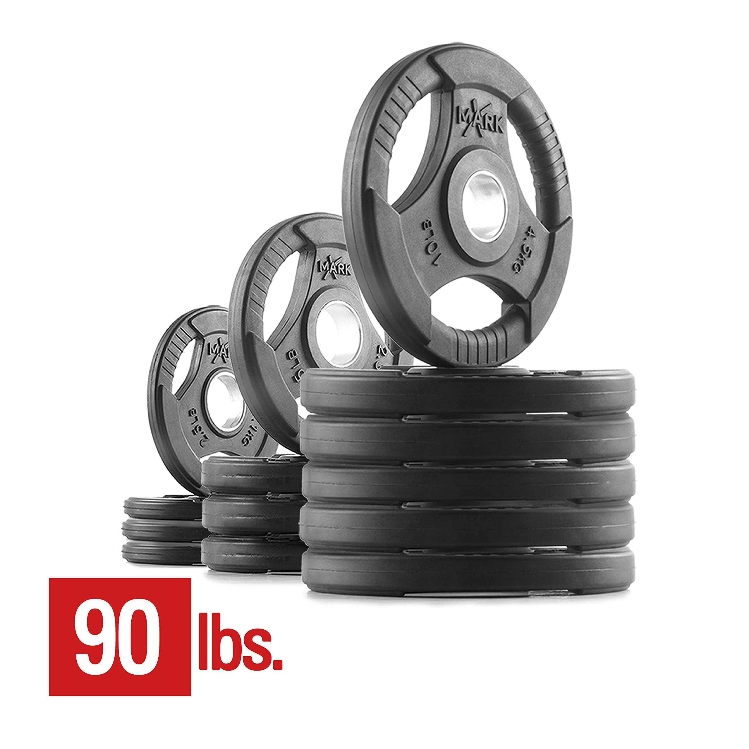 XMark Premium Quality Rubber Coated Tri-grip Olympic Plate Weights - 90 lb. Set