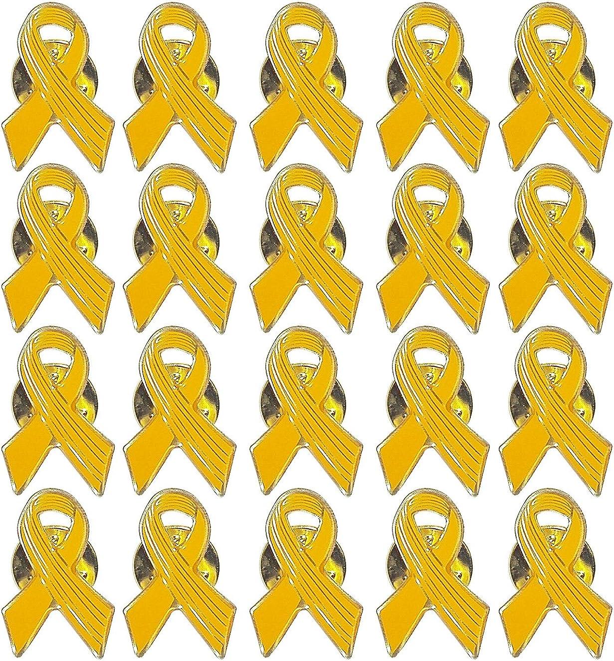 Lot of 20 - Yellow Awareness Ribbon Lapel Pins - Enamel On Gold Tone Metal.