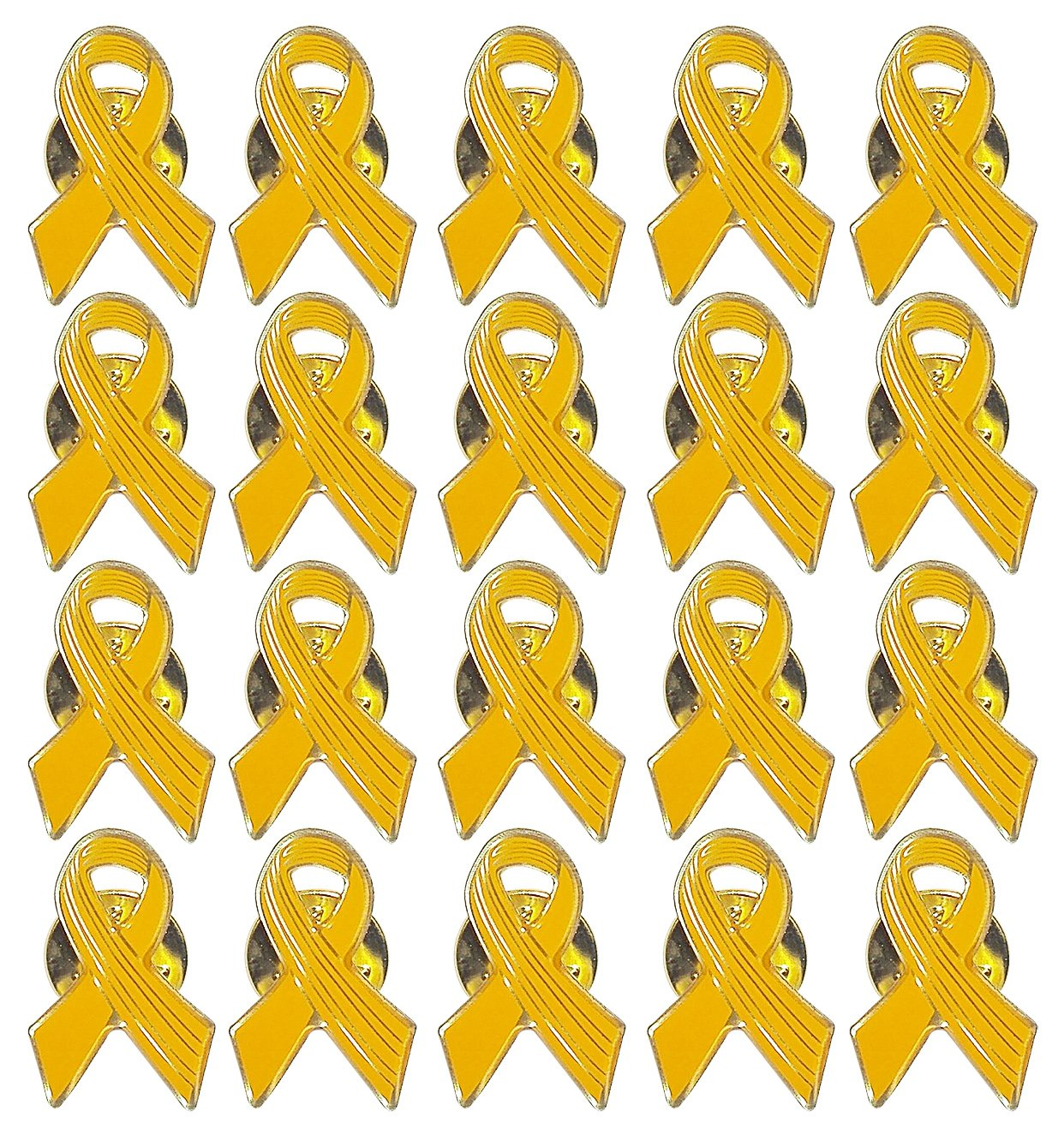 Lot of 20 - Yellow Awareness Ribbon Lapel Pins - Enamel On Gold Tone Metal.
