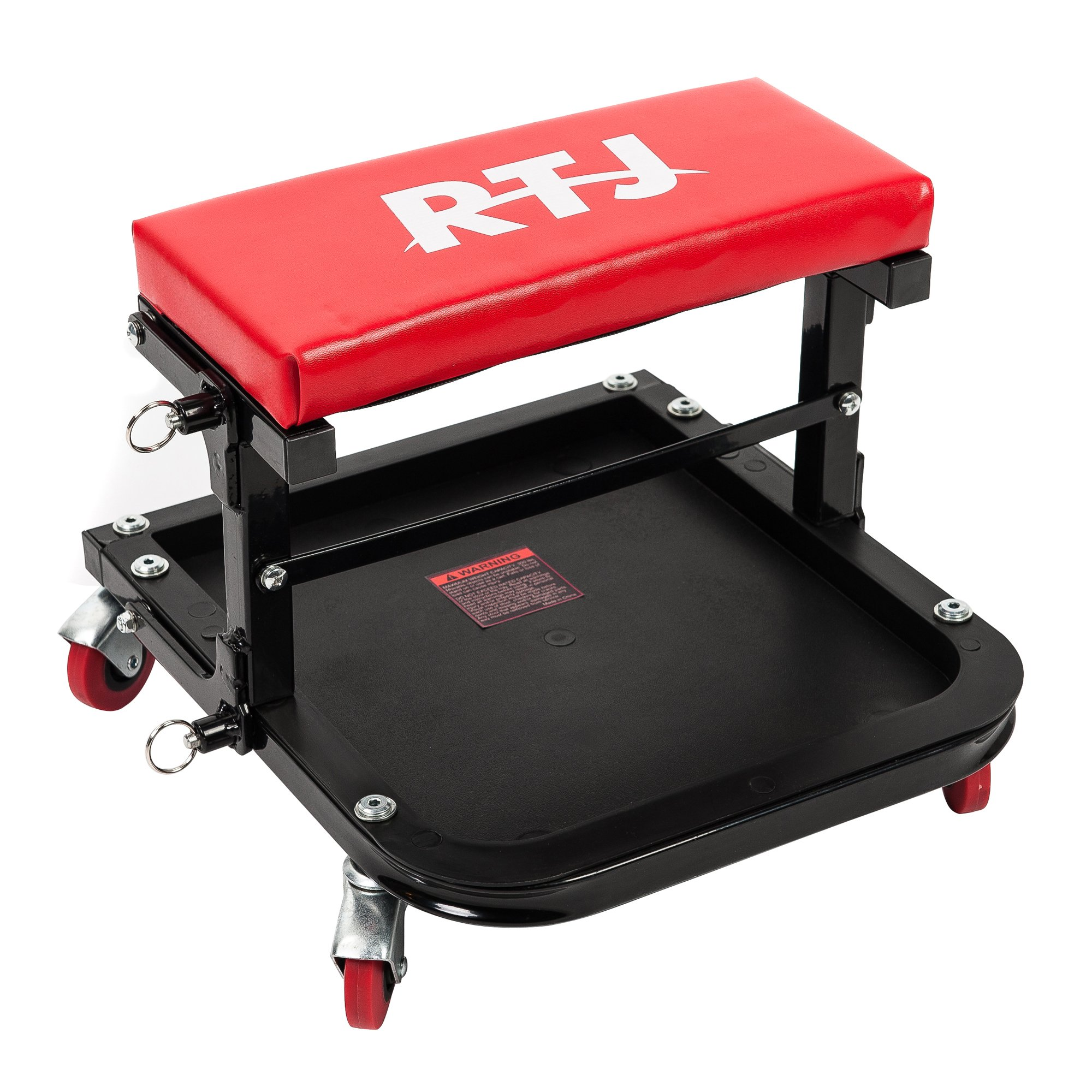RTJ 300 lbs Capacity Foldable Mechanic Roller Seat C-Frame Rolling Stool, Red and Black by RTJ