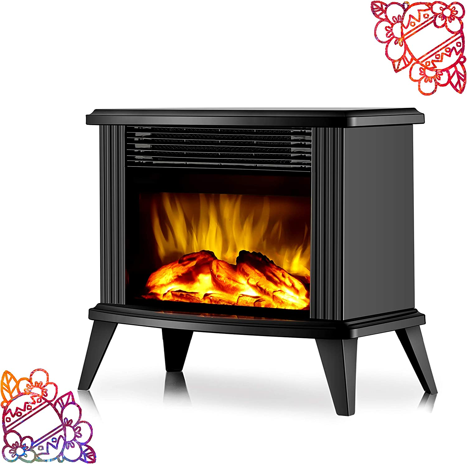 "DONYER POWER 13"" Height Mini Electric Fireplace Tabletop Portable Heater, 1500W, Black Metal Frame,Room Heater,Space Heater,Gift"