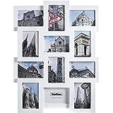 """VonHaus White Wooden 12 Multi Aperture Photo Frame to Fit 6""""x4"""" Photos"""