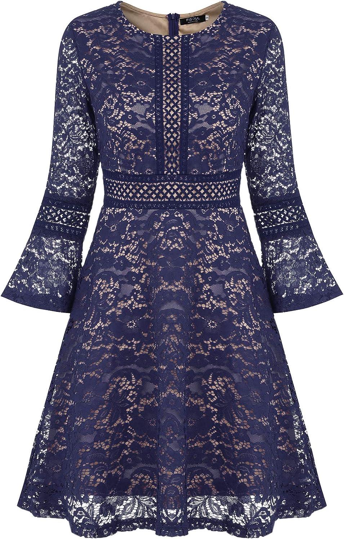 TALLA XXL. FISOUL Vintage Encaje Floral Coctel Vestido Corta para Mujer Azul Marino XXL