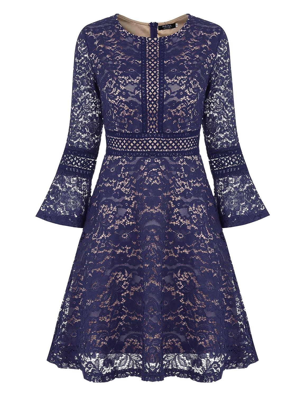 TALLA S. FISOUL Vintage Encaje Floral Coctel Vestido Corta para Mujer Azul Marino
