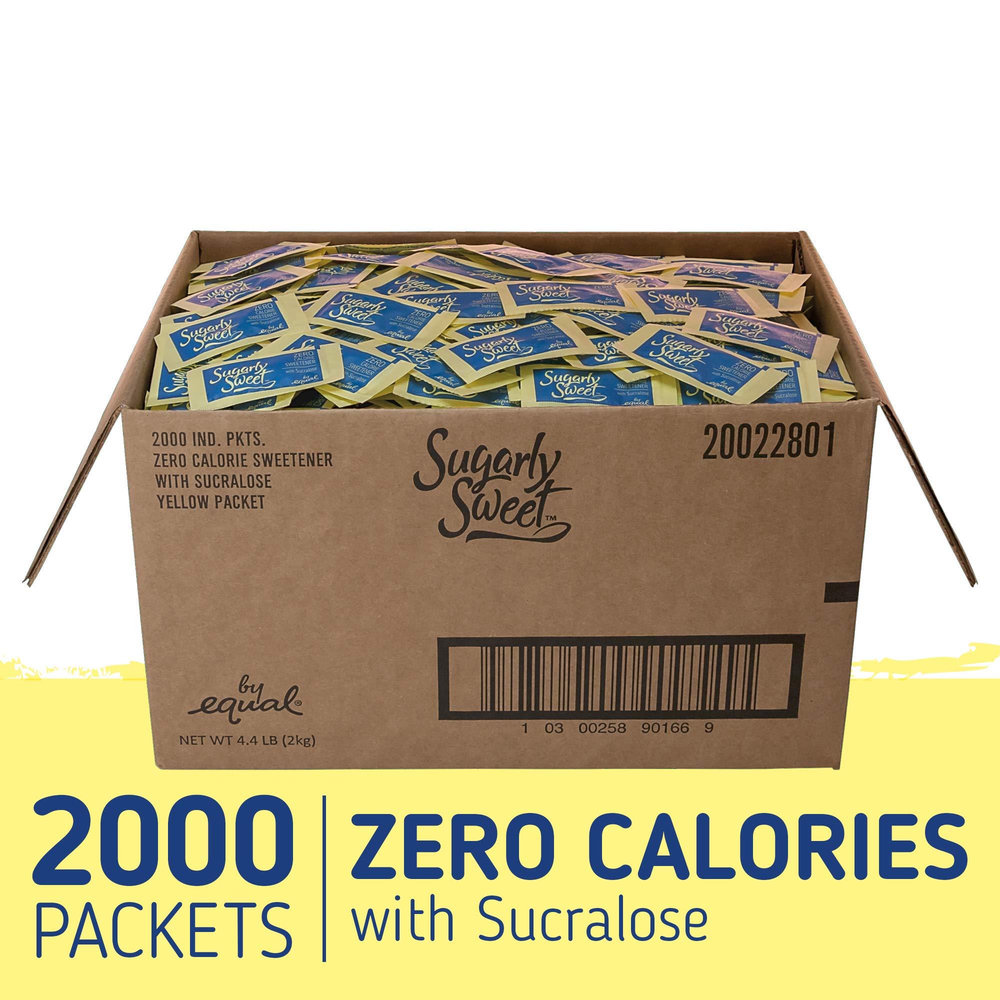 SUGARLY SWEET Zero Calorie Sweetener Packets with Sucralose, Sugar Substitute, Sugar Alternative, Yellow Sweetener Packets, 2,000 Packets