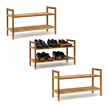 Schuhregal Weiß Schuhgestell Bambus /& MDF Schubablage Offen Schuhaufbewahrung