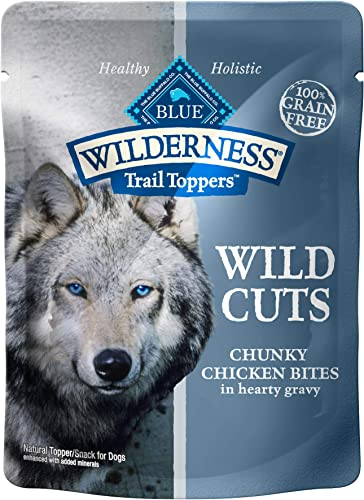 Blue Buffalo Wilderness Trail Toppers Wild Cuts High Protein Natural Wet Dog Food, 3-oz Pouches Pack of 24