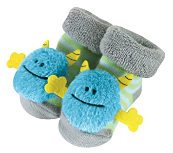 Amazon Com Stephan Baby Rattle Socks Blue Monsters 3 12 Months