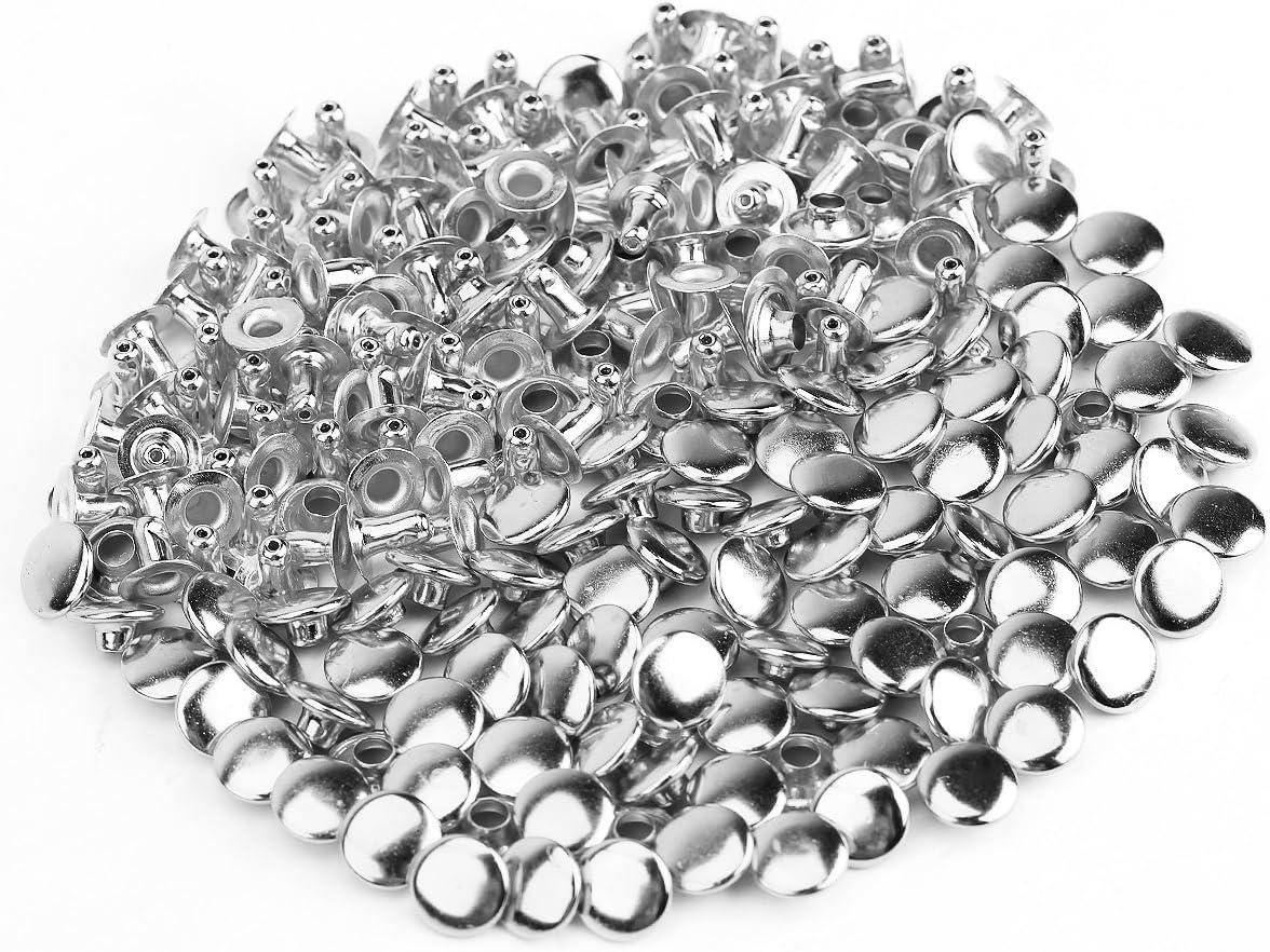 SurePromise Rivetti a doppia calotta Chiusura a bottone Rivetti tubolari rapidi Artigianato in pelle 100 pezzi 6 mm.