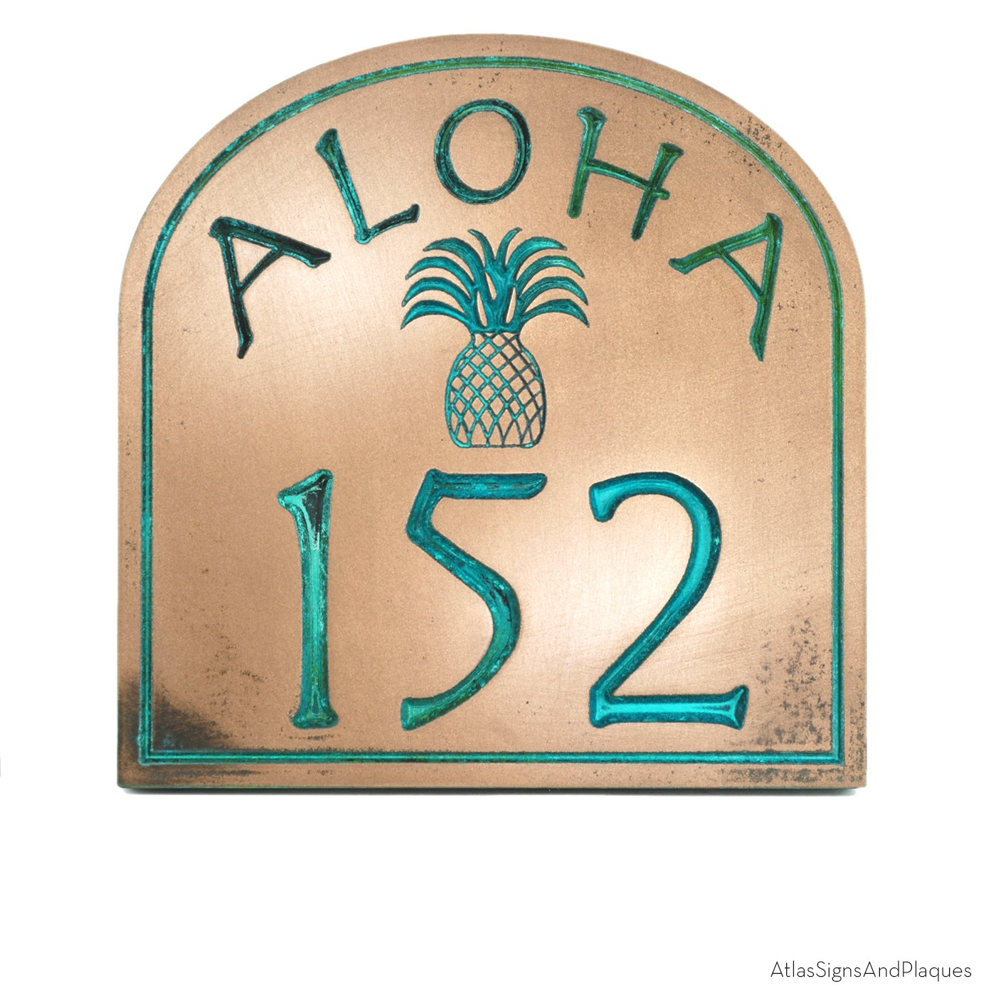 Hospitality Aloha Home Nubmer Sign 12x9.5 - Pineapple Welcome Sign - by Atlas Signs and Plaques - USA Made - Recessed Bronze Verdi Coated by Atlas Signs and Plaques
