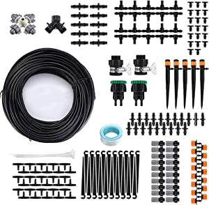 PULNDA Garden Drip Irrigation Kit, Automatic 131ft/40M Irrigation Drip System Plant Micro Watering System for Garden Greenhouse Flower Bed, Black