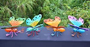 ShabbyDecor 3D Butterfly Outdoor Yard Art Metal Butterfly Hang Wall Décor for Indoor Living Room Bedroom Set of 4