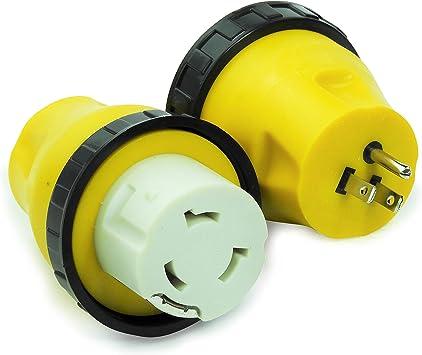 RV Power Cord Adapter 30 amp Male to 50 amp Twist Lock Female Camper Detachable
