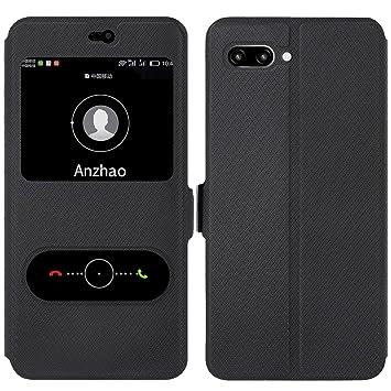 Anzhao Huawei Honor 10 Funda Funda de Cuero Piel Carcasa con Ranuras para Tarjetas para Huawei Honor 10 (Negro)