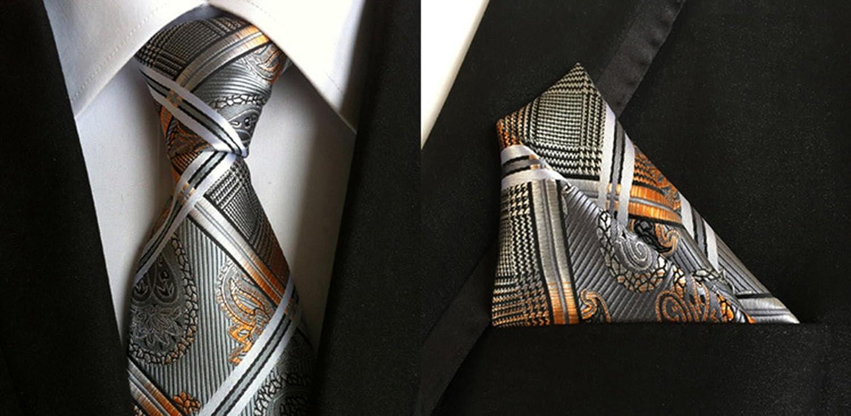 MENDENG Mens Classic Plaid Tie Pocket Square Silk Necktie Set Wedding Jacquard