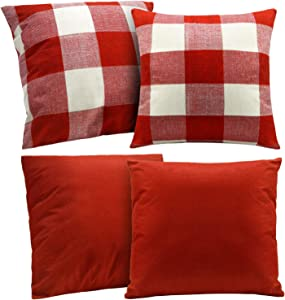 4 Pieces Buffalo Checker Plaid Cotton Linen Throw Pillowcase, Rustic Decorative Square Throw Pillow Covers, Christmas Fall Throw Pillow Covers Home Cushion, 18 x 18 Inch/ 45 x 45 cm (Red)