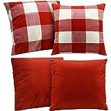 4 Pieces Buffalo Checker Plaid Cotton Linen Throw Pillowcase, Rustic Decorative Square Throw Pillow Covers, Christmas…