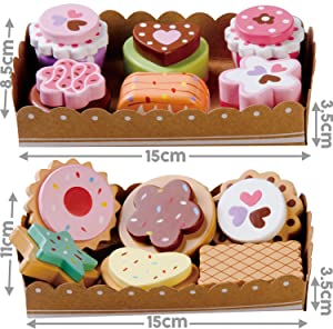 Bee Smart — Wooden Toy - Tea Party Wooden Cakes and Wooden Biscuits Set Pretend Play Food with Selection Cards and Sturdy Cardboard Serving Trays