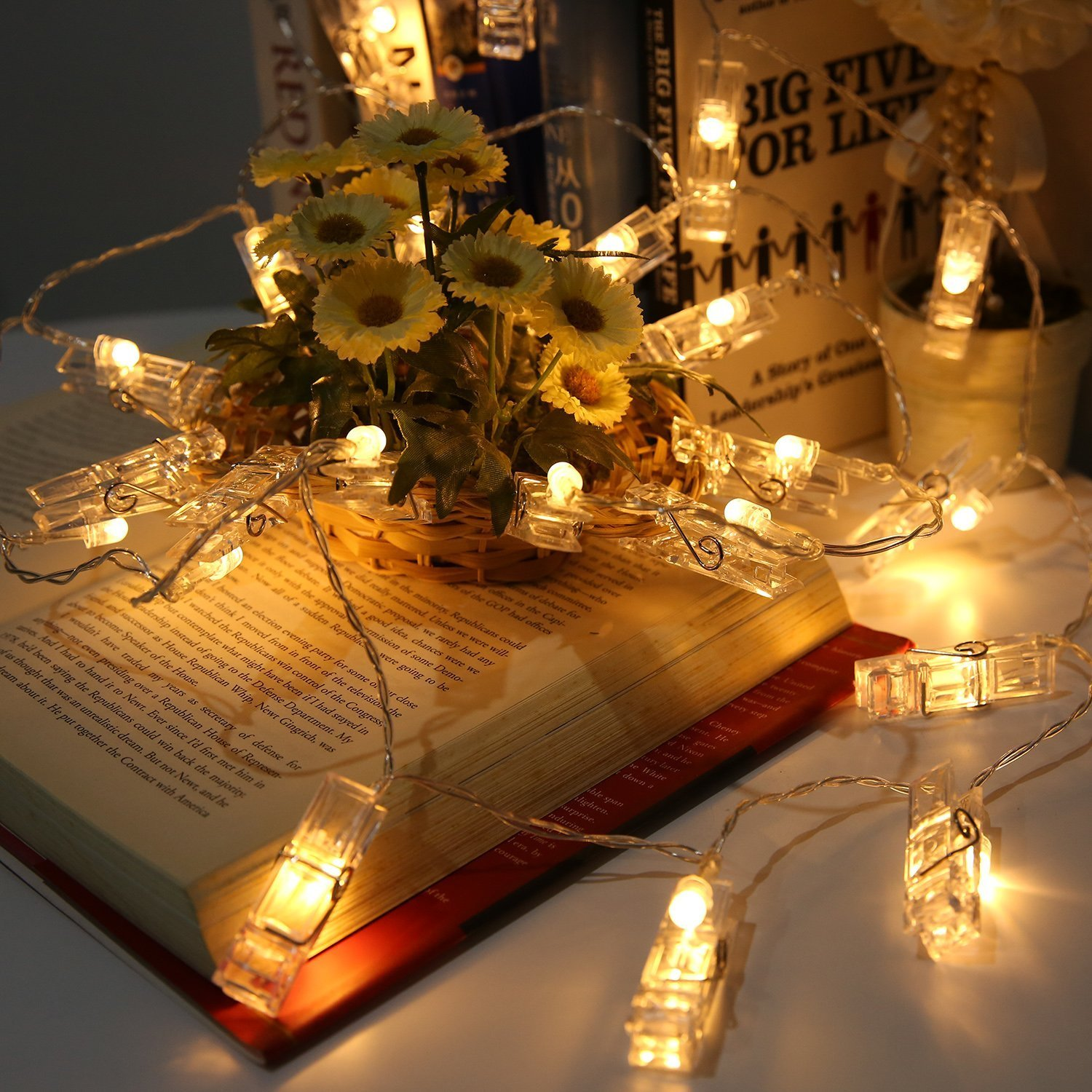 LED String Light with Clothespins, Clip, for Hanging Pictures, Photos, Artworks and More.. by gogomall (Image #4)