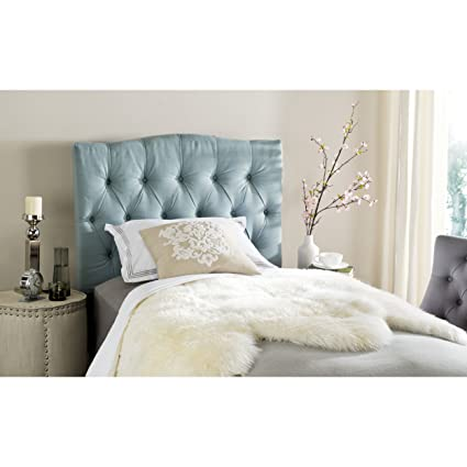 6be61b96adcfe Image Unavailable. Image not available for. Color  Safavieh Axel Sky Blue Upholstered  Tufted Headboard (Twin)
