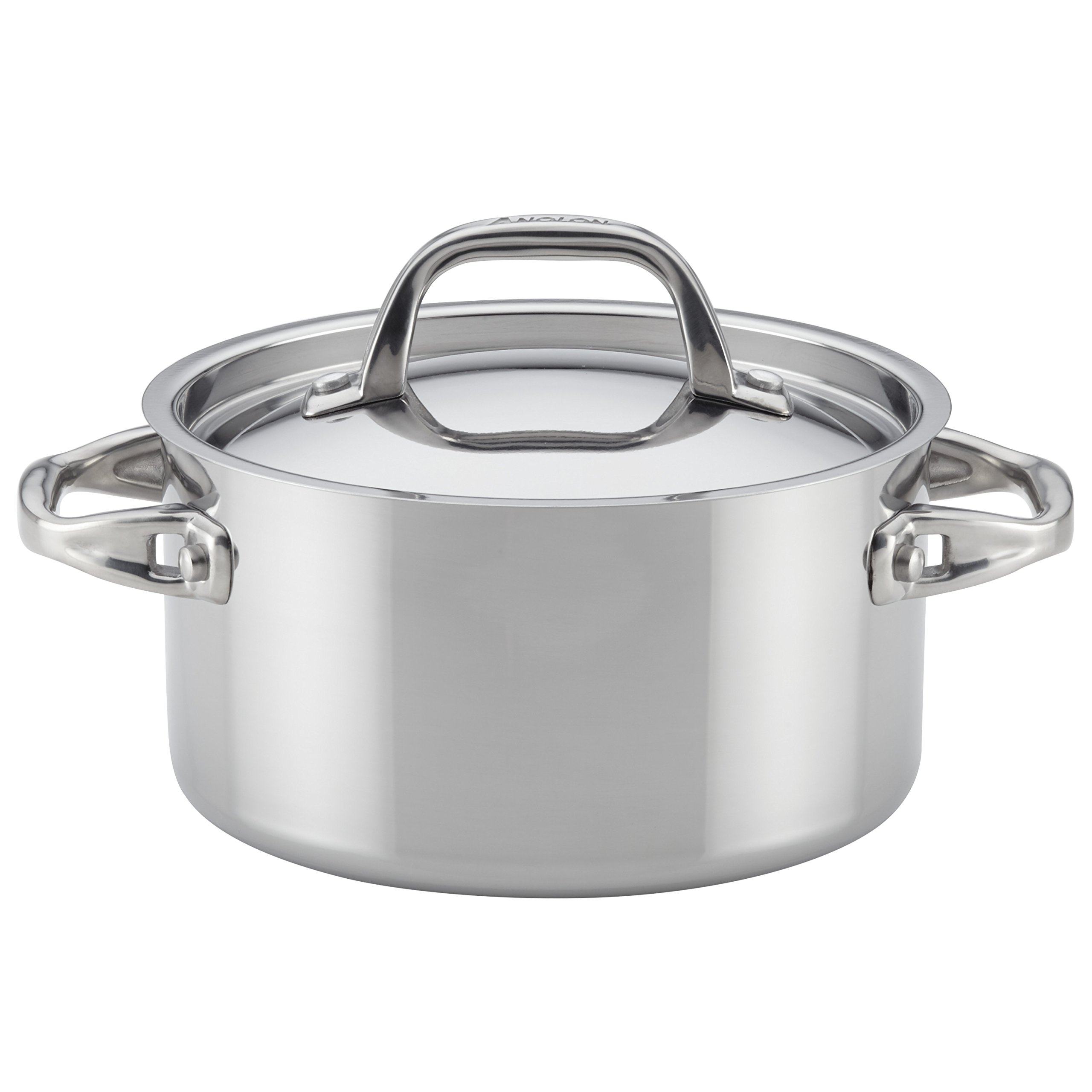 Anolon Tri-Ply Clad Stainless Steel Covered Saucepot, 3.5-Quart