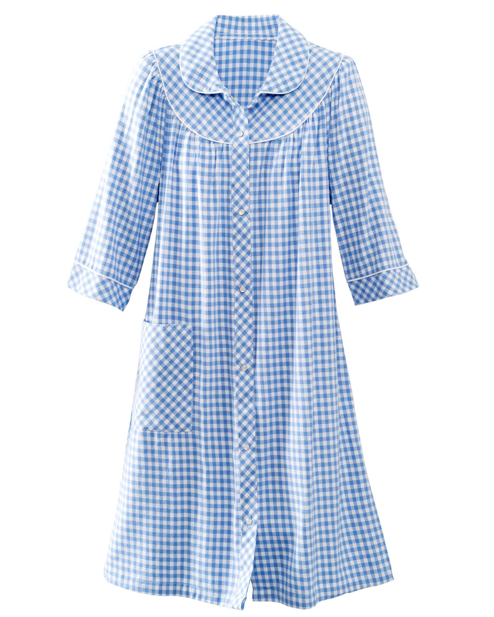 National Short Yarn-Dyed Flannel Check Duster, Blue, 2X