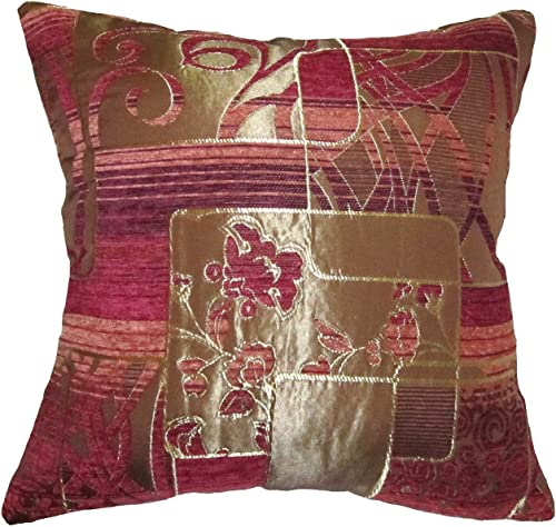 ReynosoHomeDecor Burgundy, Purple, Orange, and Gold Swirls and Squares Chenille Square Decorative Throw Pillow Cover 18 x18