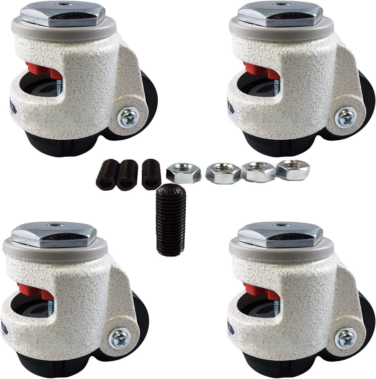 CasterHQ Wheel Master - Retractable Leveling Machine Stem Casters - 4 Pack - 2,400 lbs Per Set - Threaded Stem Version - 12MM Bolts/Hardware Included