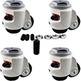 CasterHQ Wheel Master - Retractable Leveling Machine Stem Casters - 4 Pack - 2,400 lbs Per