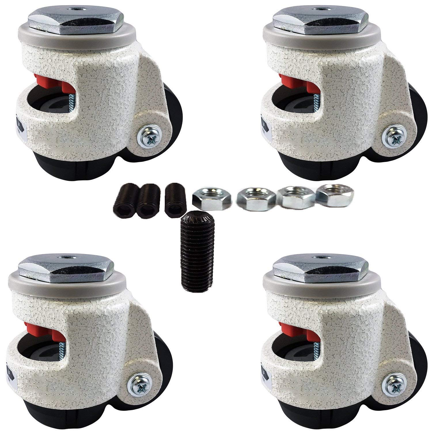 CasterHQ Wheel Master - Retractable Leveling Machine Stem Casters - 4 Pack - 2,400 lbs Per Set - Threaded Stem Version - 12MM Bolts/Hardware Included by CasterHQ