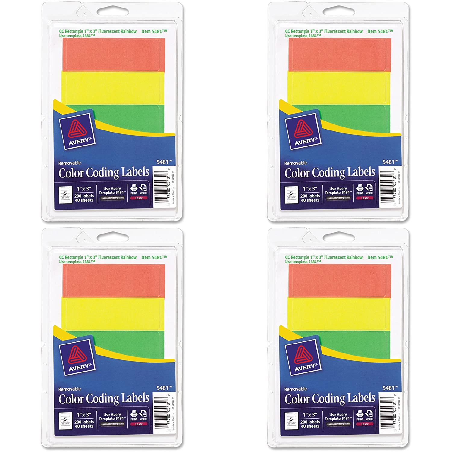 Amazon Avery Removable Print Or Write Color Coding Labels 1 X 3 Inches 200 5481 Office Products