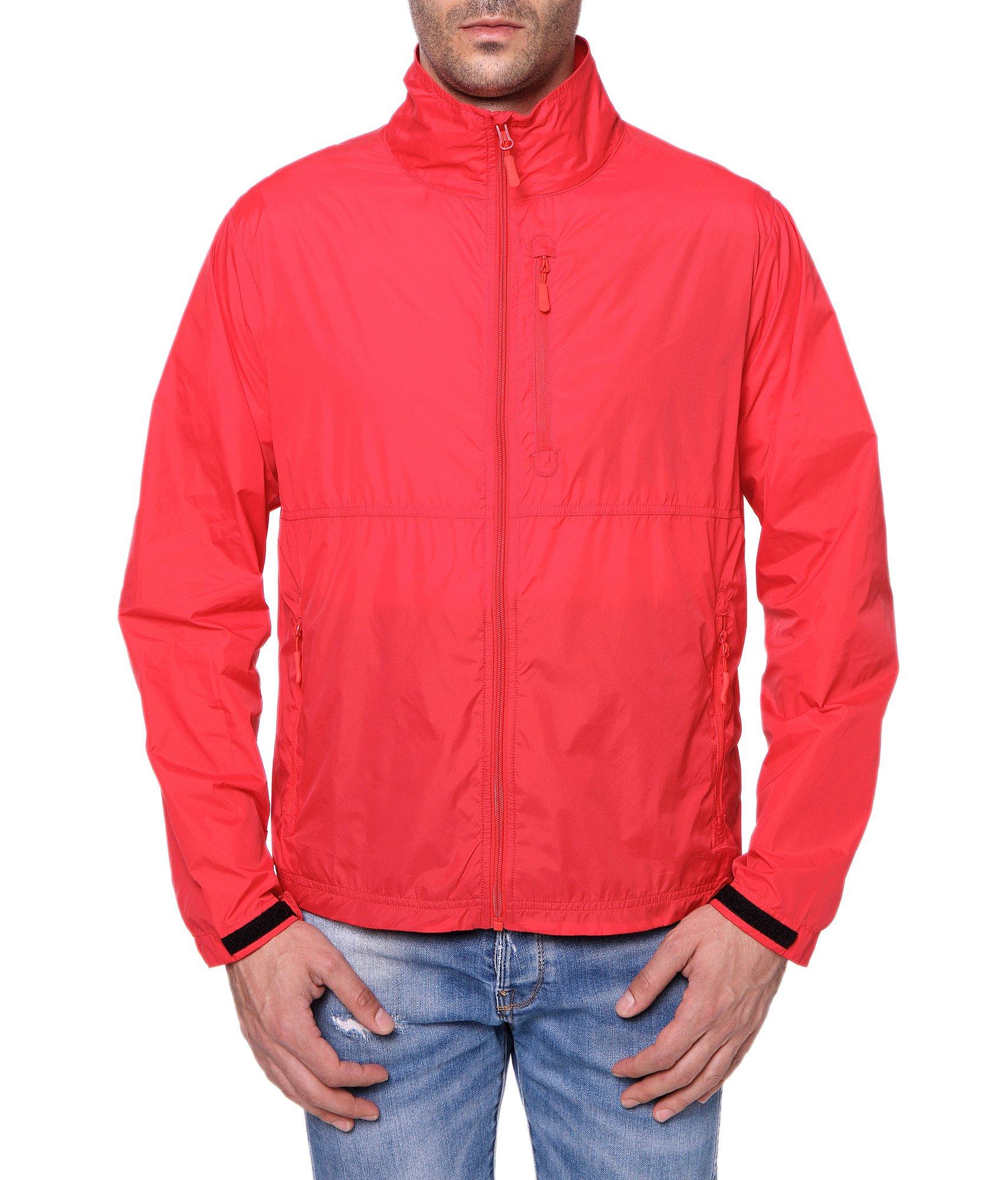 Trailside Supply Co. Men's Standard Water-Resistant Nylon Windbreaker Front-Zip up Jacket, Mars Red, Medium