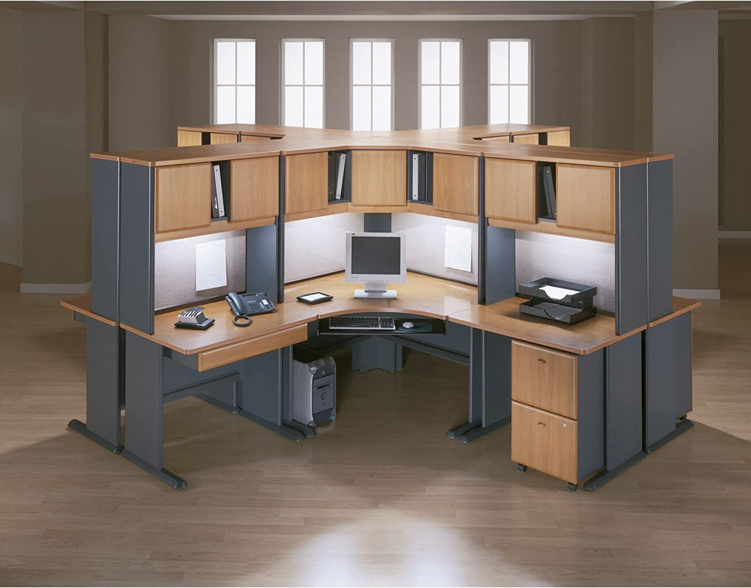 Bush Business Furniture Series A 48W Corner Desk with Mobile File Cabinet in Beech and Slate