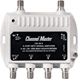 Channel Master Ultra Mini 4 TV Antenna Amplifier, TV Antenna Signal Booster with 4 Outputs for Connecting Antenna or Cable TV to Multiple Televisions (CM-3414),White