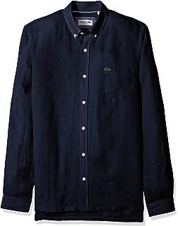 953e7592f8 Lacoste Men's Long Sleeve Solid Linen Button Down Collar Reg Fit ...