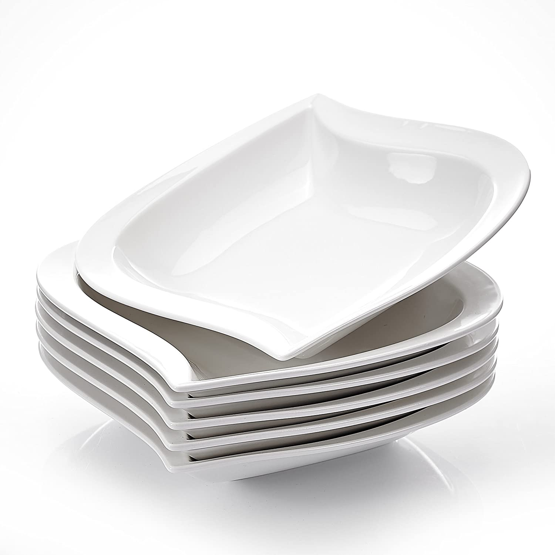 MALACASA 6-Piece 8.5 Ivory White Porcelain China Ceramic Cream White Deep Dinner Plates Soup Plates Series Elvira