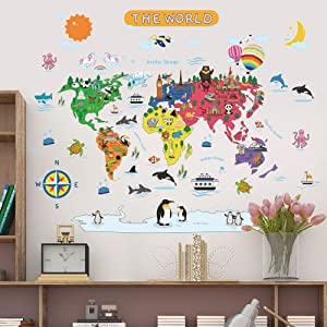 "Removable Cartoon Animals World Map Wall Decals Large Educational Animal Landmarks World Map Peel & Stick Wall Sticker Decor for Kids Bedroom Living Room Classroom Nursery Home Walls (L 36""x45"")"