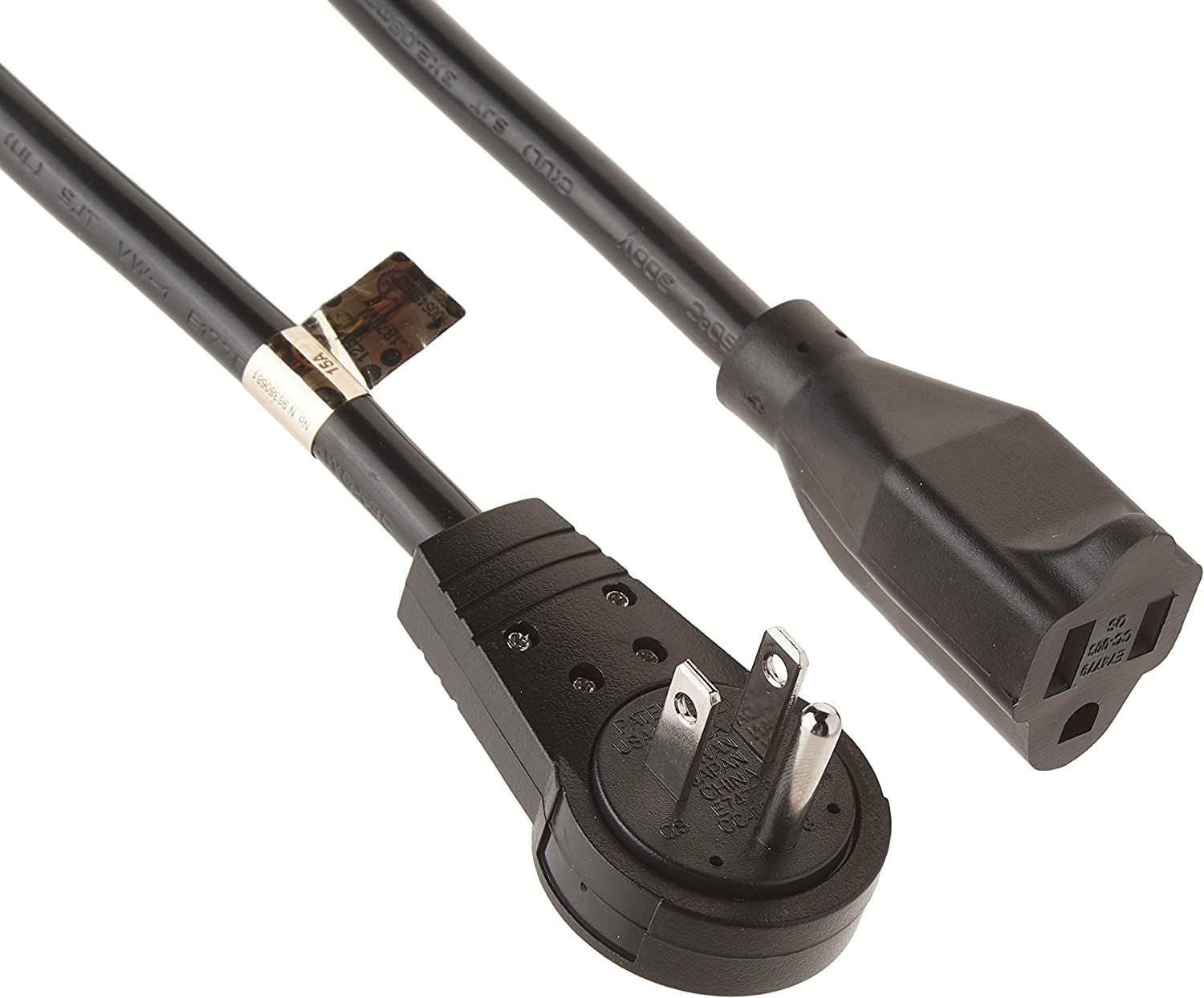 "12"" Extension Cord with Flat Rotating Plug - Black"