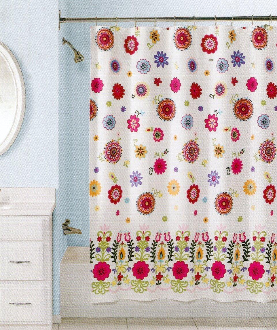 Amazon.com: Peri Home Sasha Multicolor Floral Cotton Fabric Shower ...