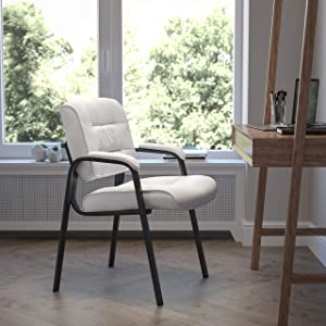 Flash Furniture White LeatherSoft Executive Side Reception Chair with Black Metal Frame