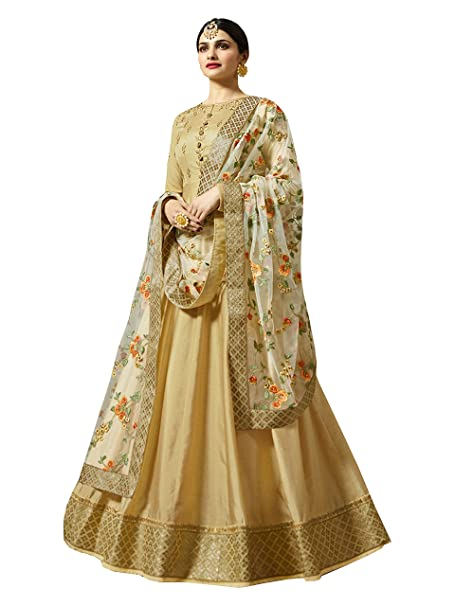 3d385fb1d585 MarutiSai Creation Women's Georgette Embroidered Semi-stitched Salwar Suit  with Dupatta (Golden, Free Size): Amazon.in: Clothing & Accessories