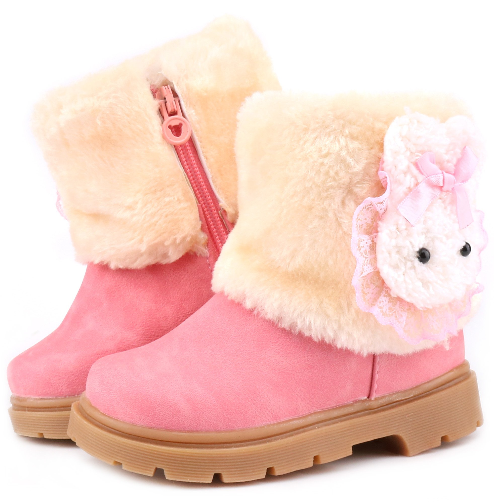 Femizee Baby Girls Infant Toddler Winter Fur Shoes Rabbit Snow Boots Booties,Pink,1013 CN29
