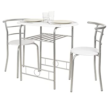 ts-ideen Juego de 3 Piezas Comedor Mesa y sillas para la Cocina Marco de Metal MDF Blanco 75 x 80