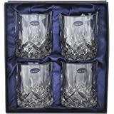 Amlong Crystal Lead Free Double Old Fashioned Crystal Glass, 9 Ounce, Set of 4