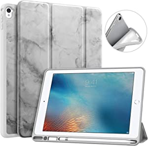 MoKo Case Fit iPad Pro 9.7 with Pencil Holder - Slim Lightweight Smart Shell Stand Cover Case with Auto Wake / Sleep Fit iPad Pro 9.7 Inch 2016 (A1673/A1674/A1675) - Dark Gray Marble