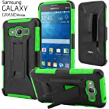 CellJoy® Galaxy Grand Prime Case [New Generation] [[Shock Proof]] Dual Layer Cover Rugged Holster [Kickstand][Belt Swivel Clip] For Samsung G530 G530H G530F G530M G530T G530AZ S920C (Neon Lime Green)