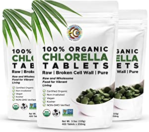 Earth Circle Organics, Premium Chlorella Tablets, USDA Organic, Kosher, Highest Potency, Raw Superfood, Cracked Cell Wall, High in Protein, No Additives or Fillers - 400 Tablets - 3 Packs