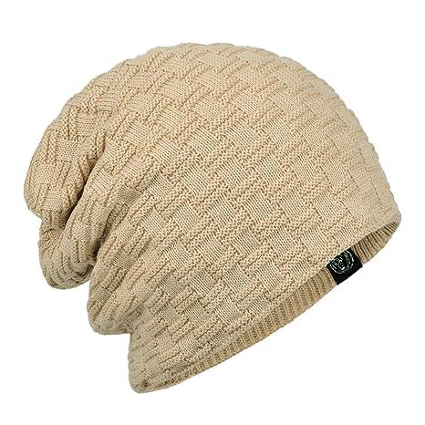 69207fc3 Janey&Rubbins Winter Baggy Oversize Solid Knit Beanie Hat Warm Villi Lined  Skull Ski Cuff Stocking Cap