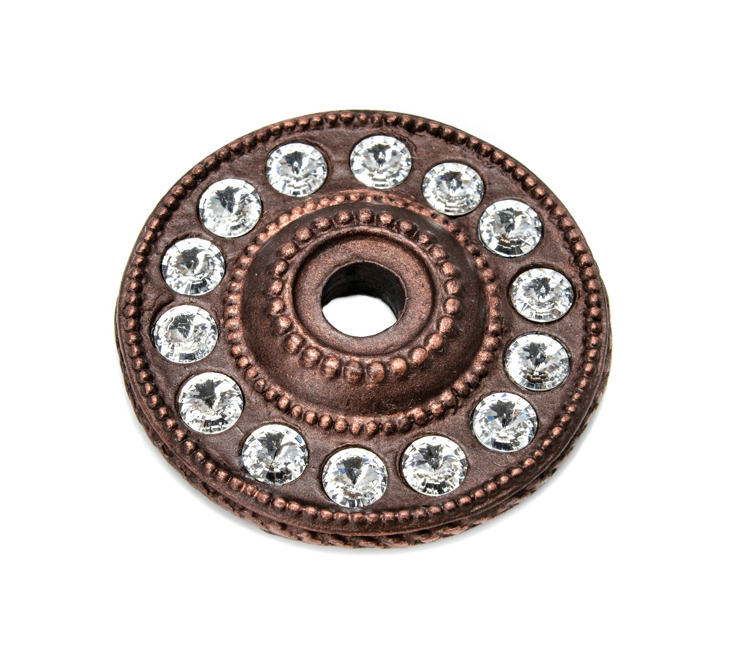 Carpe Diem Hardware Carpe Diem 883-22C Cache' Large round escutcheon with swarovski elements Oil Rubbed Bronze Oil Rubbed Bronze by Carpe Diem Hardware